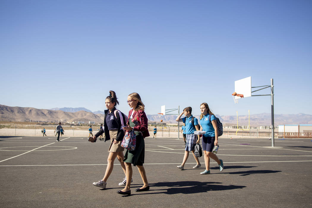 Middle school students walk to their lunch period at Pinecrest Academy, Nevada's newest campus ...