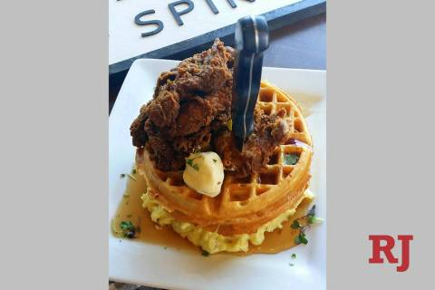 Farmtable's Farmhand Chicken and Waffles are served with Yukon Gold mashed potatoes. (Farmhouse ...