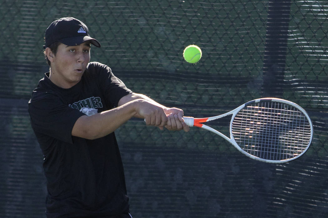 Palo Verde's Ryan Jensen eyes the ball during a doubles match against Coronado on Wednesday, No ...