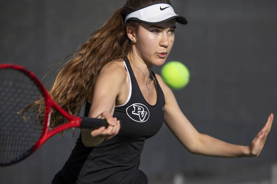 Palo Verde's Ava Bailey hits the ball during the class 4A state championship on Wednesday, Nov. ...