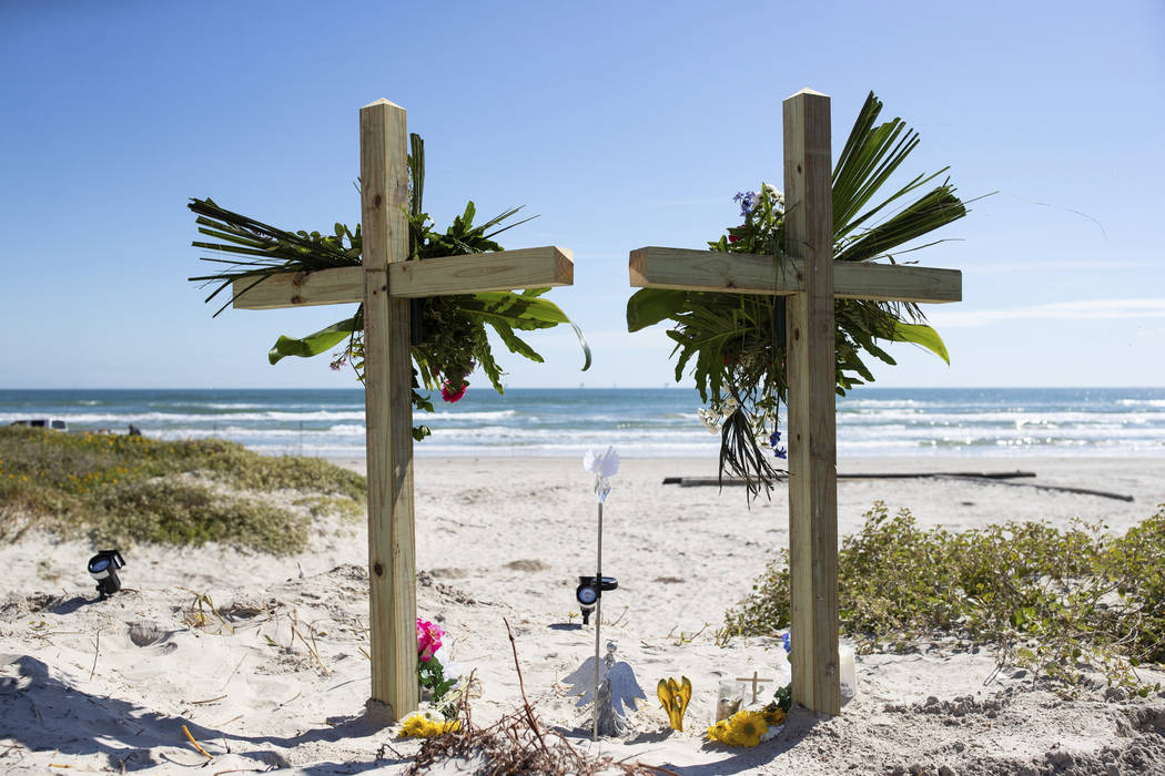 This Monday, Nov. 4, 2019 photo shows a makeshift memorial for James and Michelle Butler at mil ...