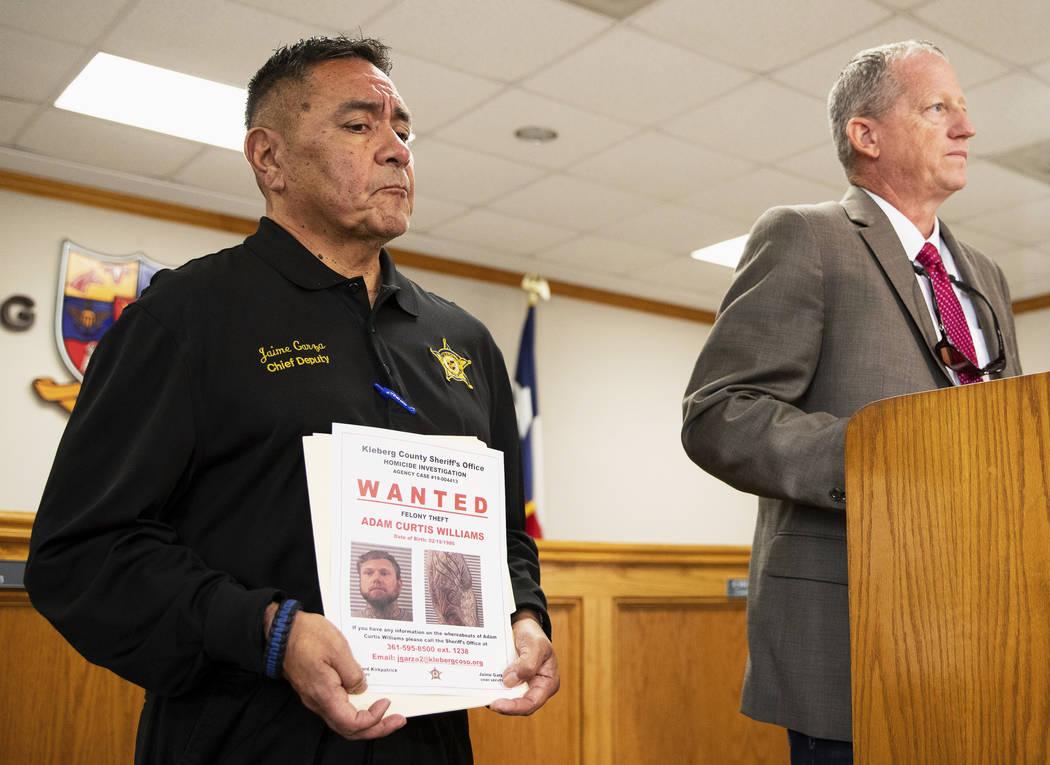 Kleberg County Sheriff's Office's Chief Deputy Jaime Garza listens as Kleberg County She ...