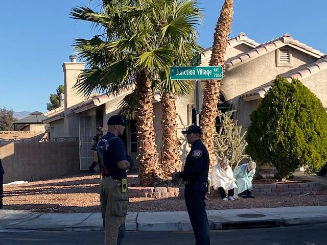 Five people escaped from a house fire on Junction Village Avenue in northwest Las Vegas Thursd ...