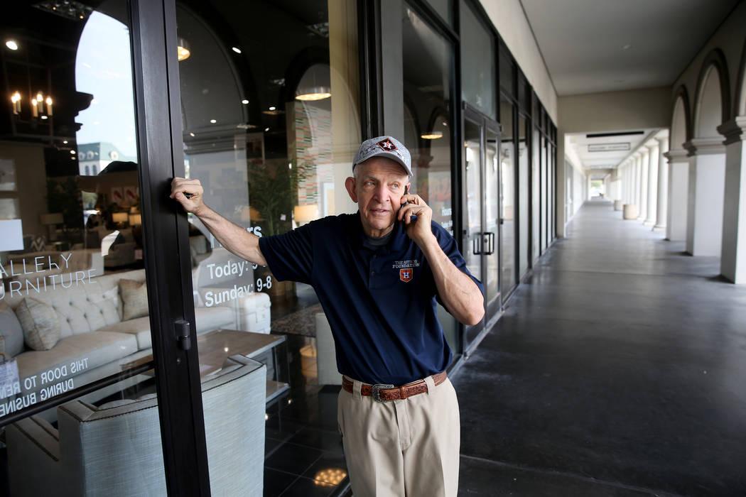 "Houston furniture store owner Jim ""Mattress Mack"" McIngvale, 68, finishes a phone cal ..."