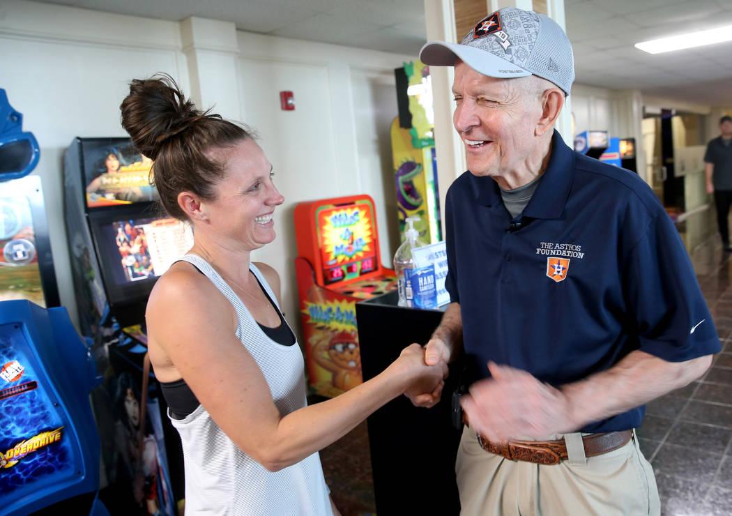 "Houston furniture store owner Jim ""Mattress Mack"" McIngvale, 68, greets customer Holl ..."