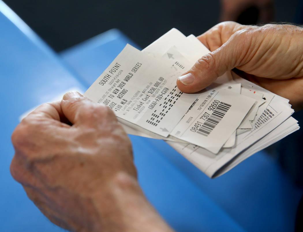 "Houston furniture store owner Jim ""Mattress Mack"" McIngvale, 68, shows betting ticket ..."