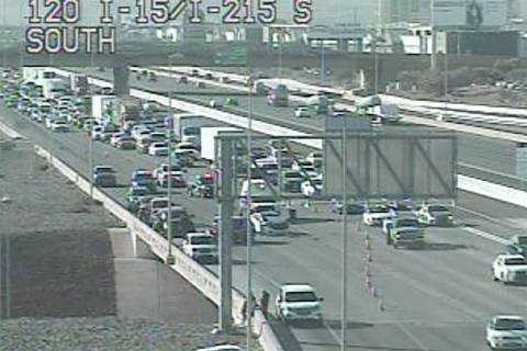Multivehicle crash on northbound Interstate 15 at the 215 Beltway in southern Las Vegas Valley, ...