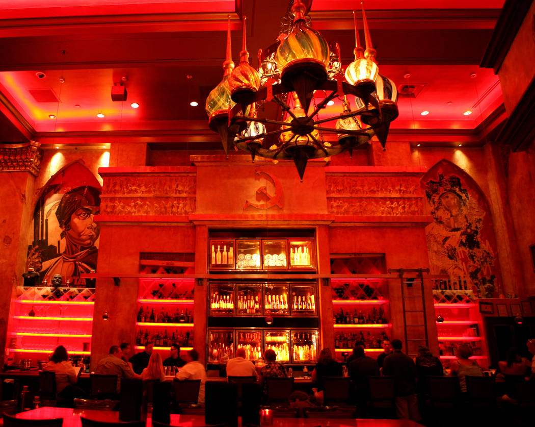 The bar area at Red Square restaurant inside the Mandalay Bay hotel-casino is shown Friday, Jul ...