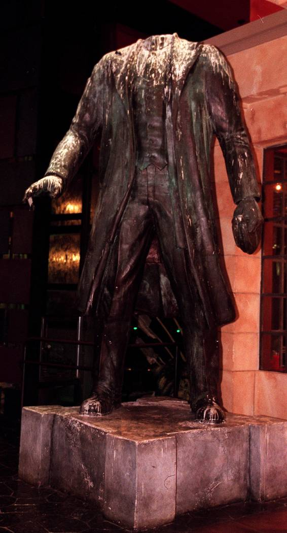 The headless, paint-splattered statue of Lenin at Red Square. phhoto by jeff scheid