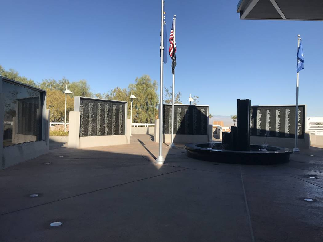 Henderson's Veterans Memorial Wall is pictured Nov. 7 adjacent to City Hall. (Julie Wootton- ...