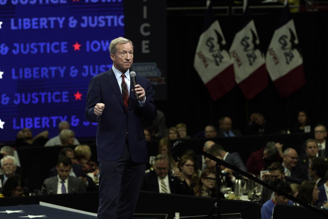 Democratic presidential candidate businessman Tom Steyer speaks during the Iowa Democratic Part ...