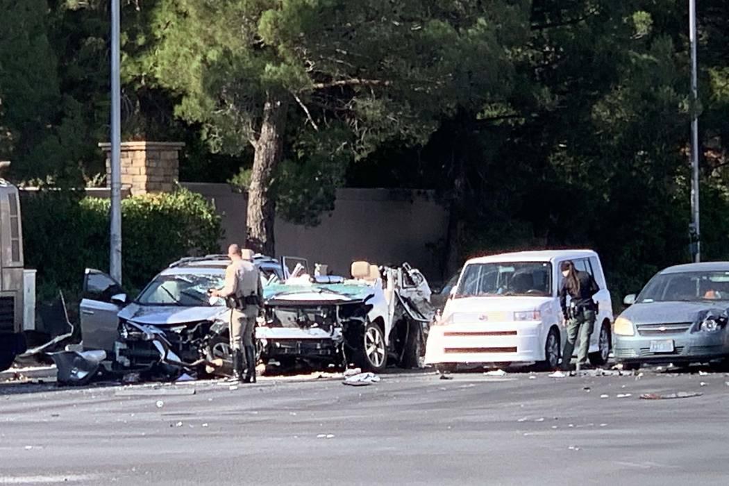 One person was killed in a seven-vehicle crash involving a bus near Tropicana Avenue and Rainbo ...