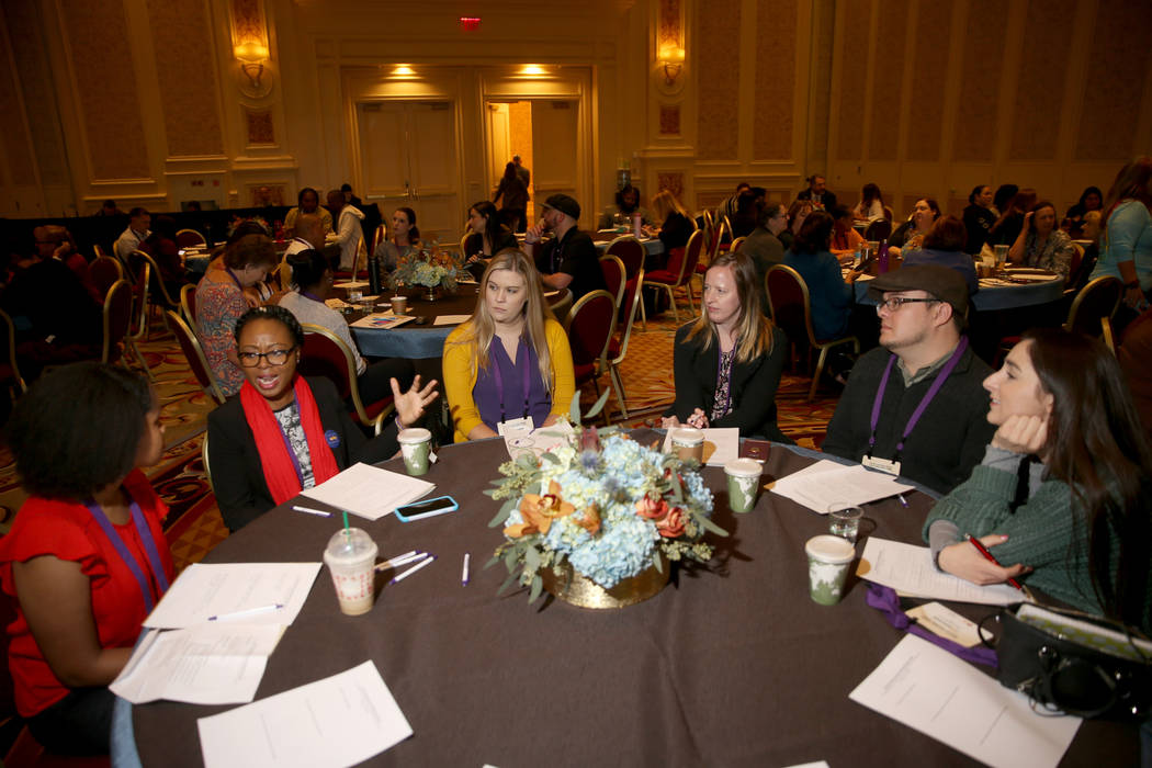 Supporters of Nevada Partnership for Homeless Youth (NPHY), from left, Nia Hopkins, 20, Augusta ...