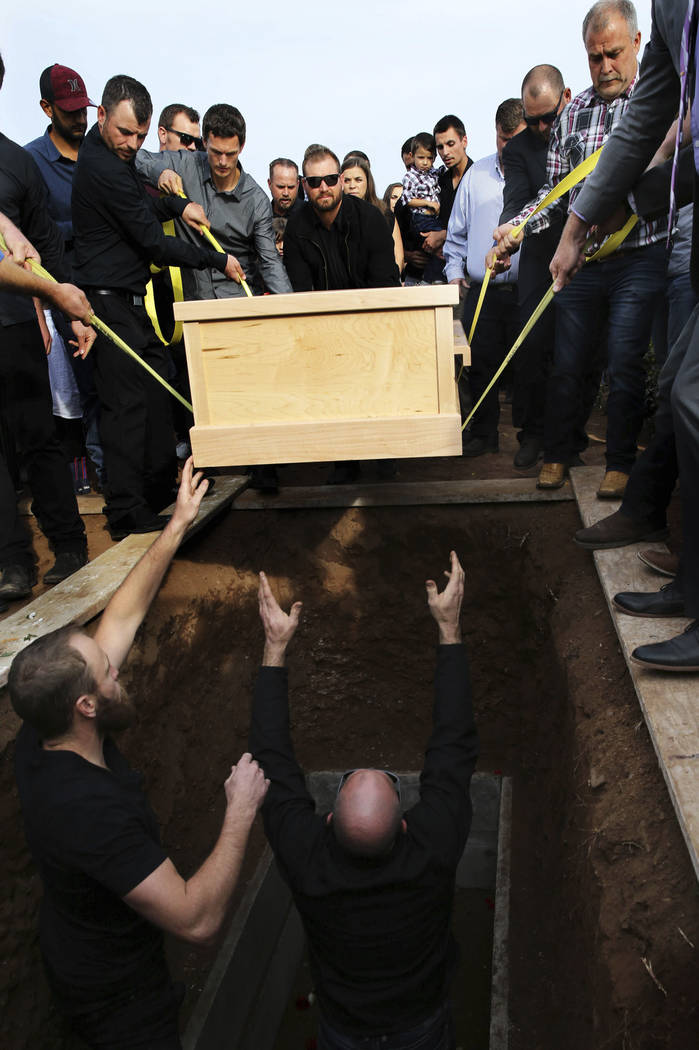 The coffin that contain the remains of Christina Langford Johnson the last victim of a cartel a ...