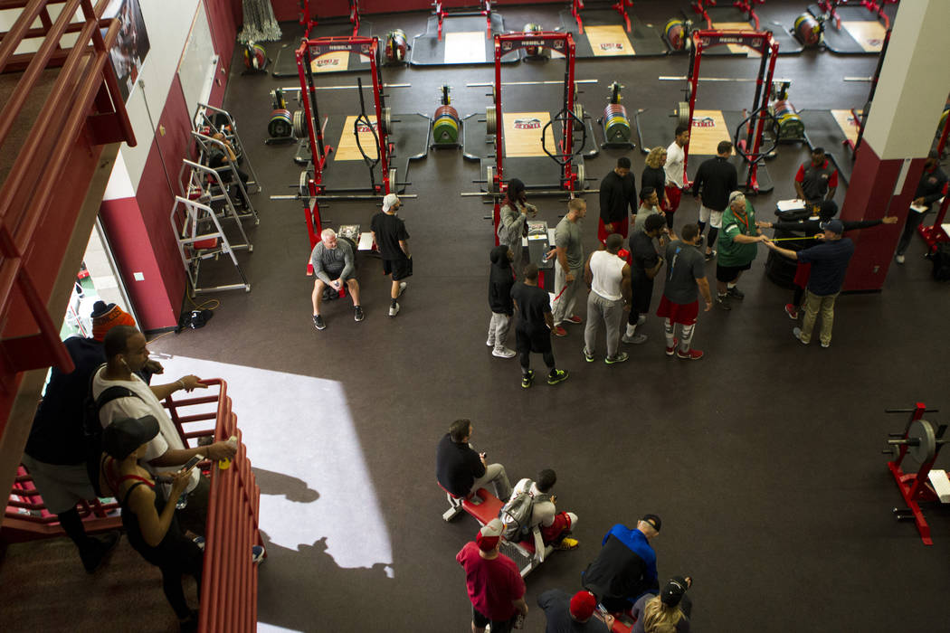 Players are measured during Pro Day at UNLV's Lied Athletic Complex on Thursday, March 17, 2016 ...