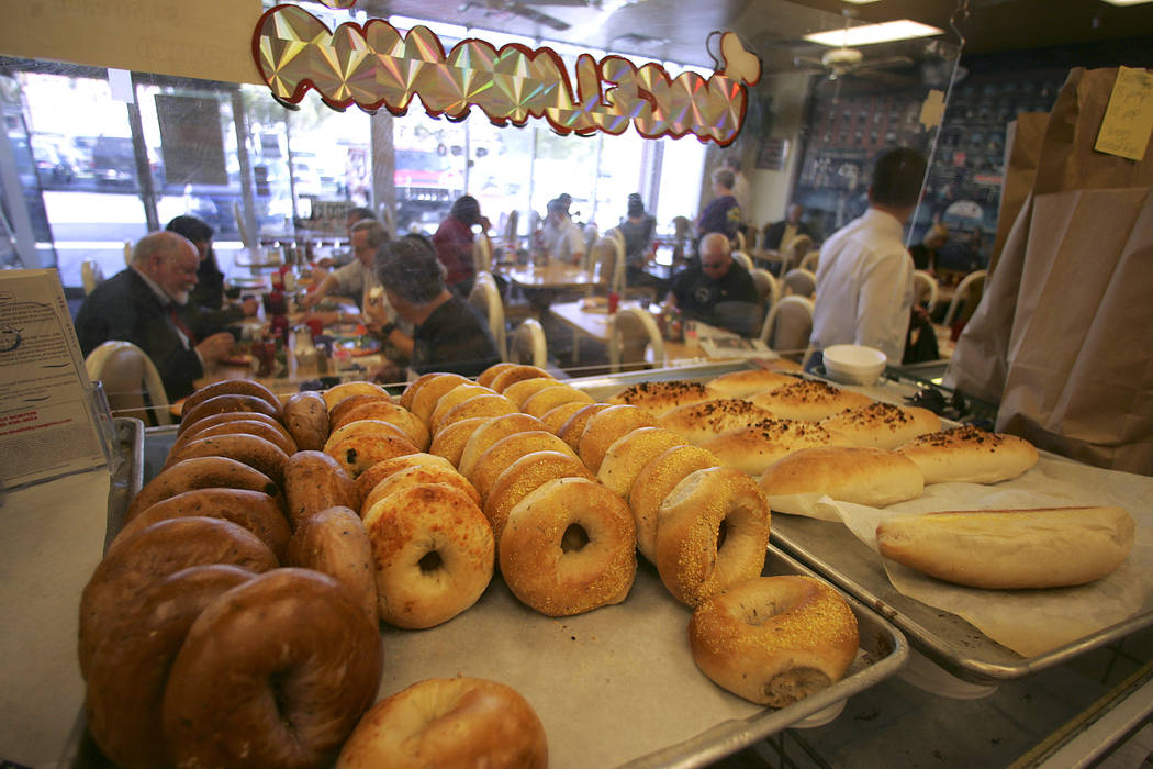 Finished bagels are displayed for customers at Bagelmania. (Las Vegas Review-Journal File)