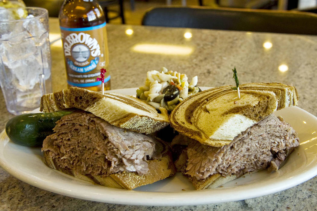 The brisket sandwich is seen at Bagel Cafe. (Las Vegas Review-Journal File)