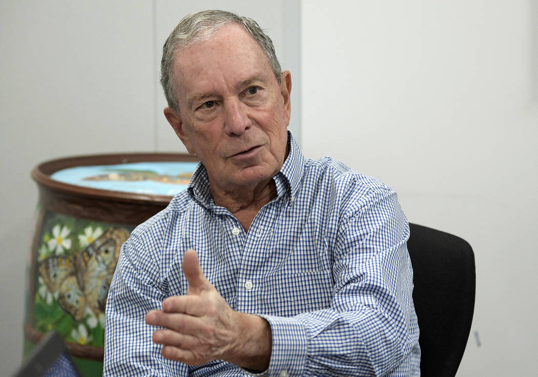 FILE - In this Feb. 8, 2019 file photo, former New York City Mayor Michael Bloomberg answers a ...