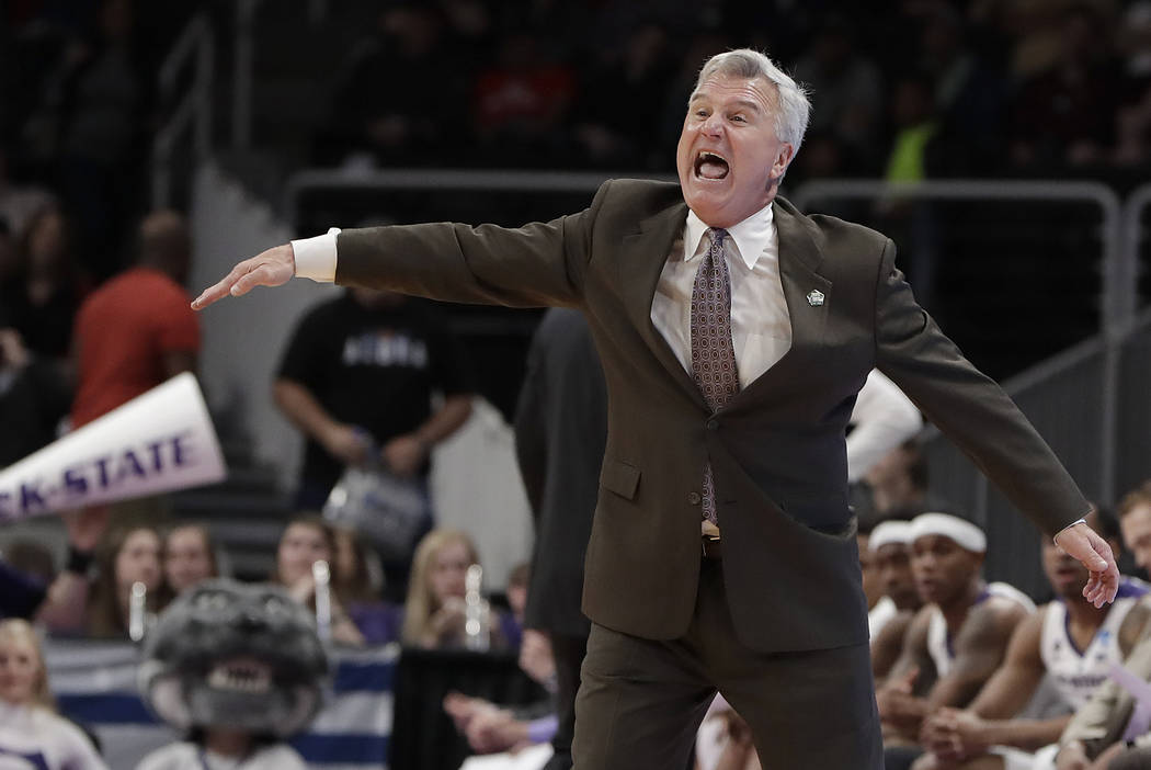 Kansas State head coach Bruce Weber gestures during the first half of a first round men's colle ...