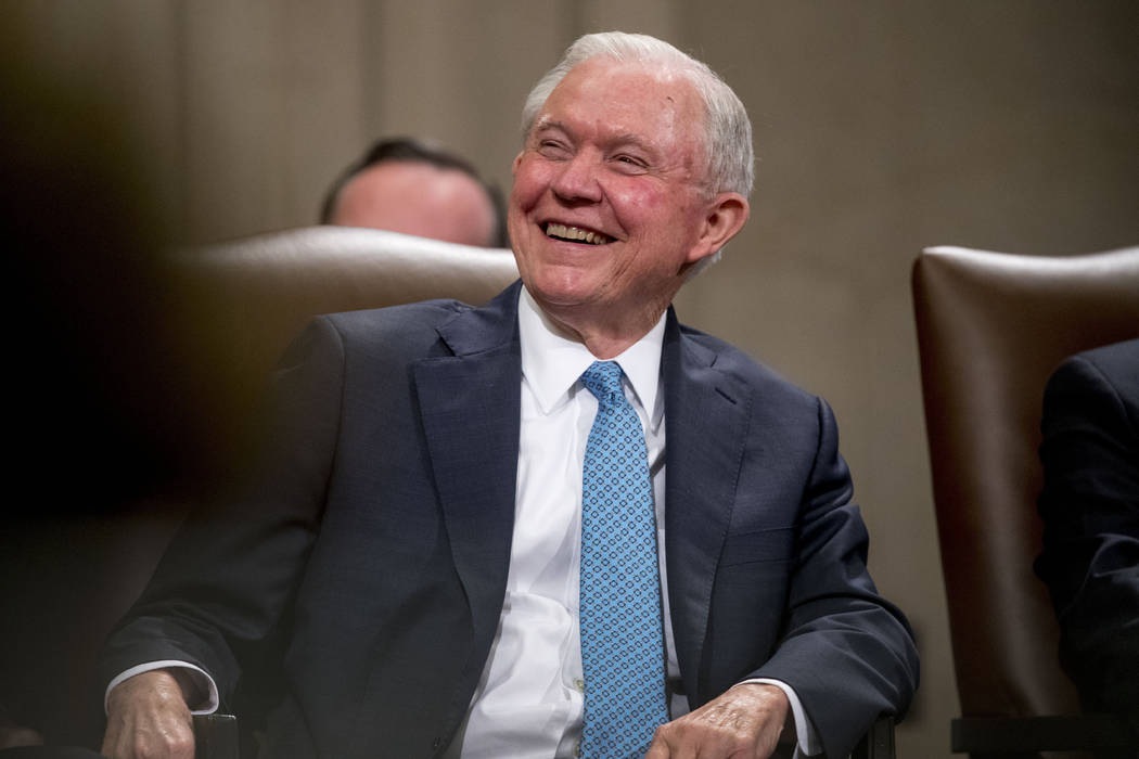 Former Attorney General Jeff Sessions attends a farewell ceremony for Deputy Attorney General R ...