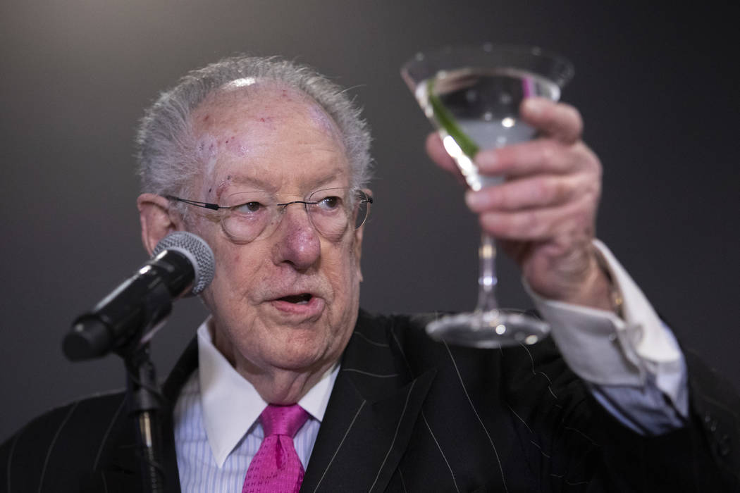 Former Las Vegas Mayor Oscar Goodman toasts to the new William Hill Race & Sports Book on F ...
