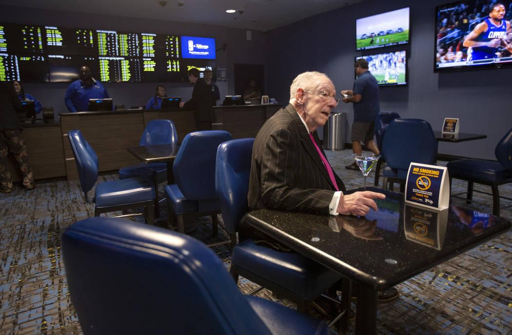 Former Las Vegas Mayor Oscar Goodman Oscar Goodman waits to unveil the new video wall at the re ...