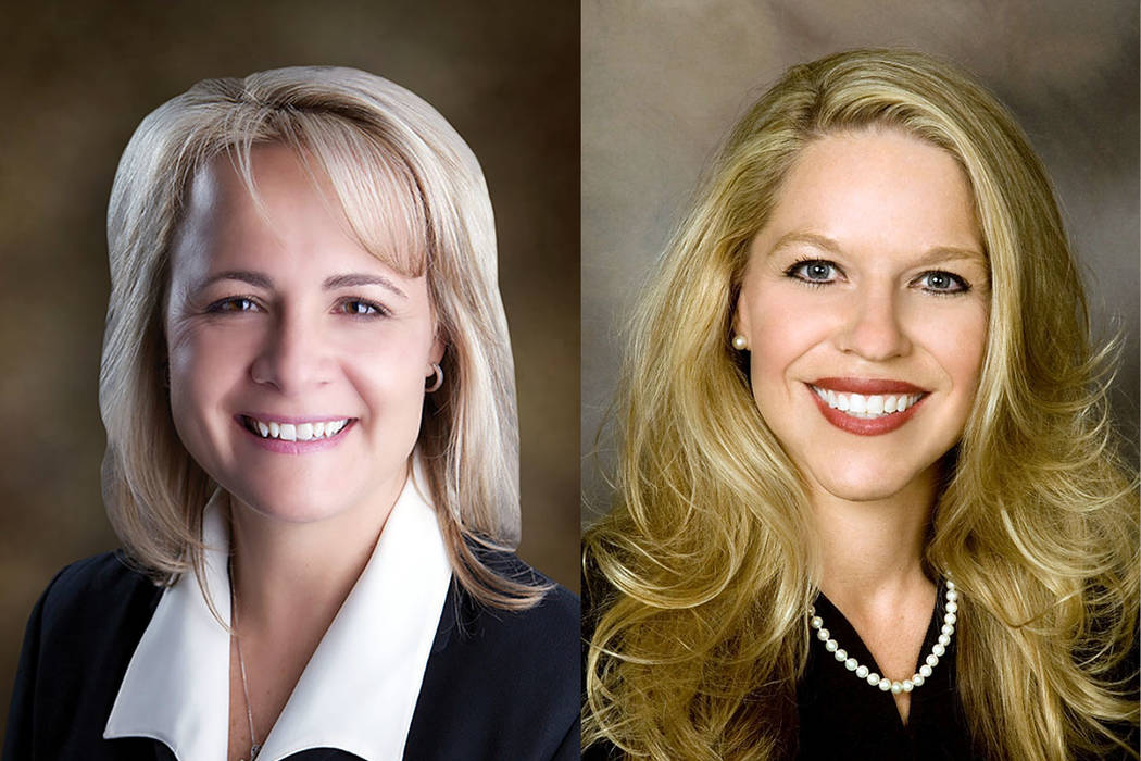 Las Vegas Justices of the Peace Amy Chelini, left, and Melanie Andress-Tobiasson (Las Vegas Rev ...