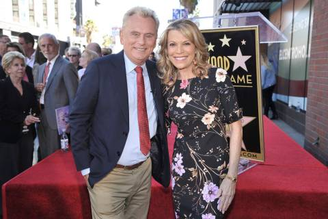 "Pat Sajak, left, and Vanna White, from ""Wheel of Fortune,"" attend a ceremony honoring ..."