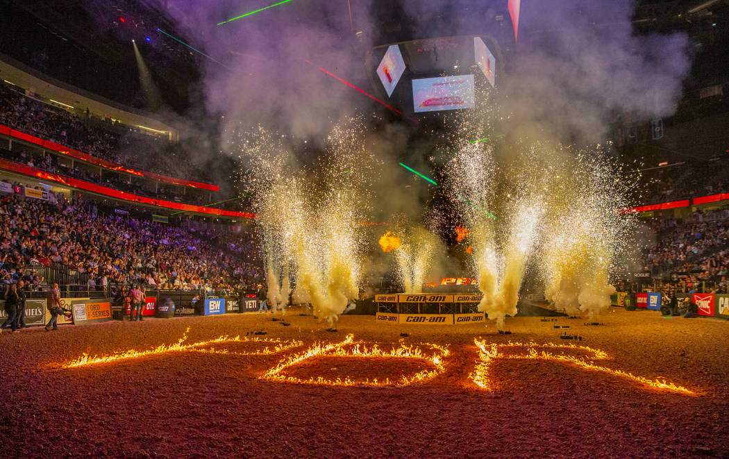 Opening ceremonies during the third day of the PBR World Finals at T-Mobile Arena on Wednesday, ...