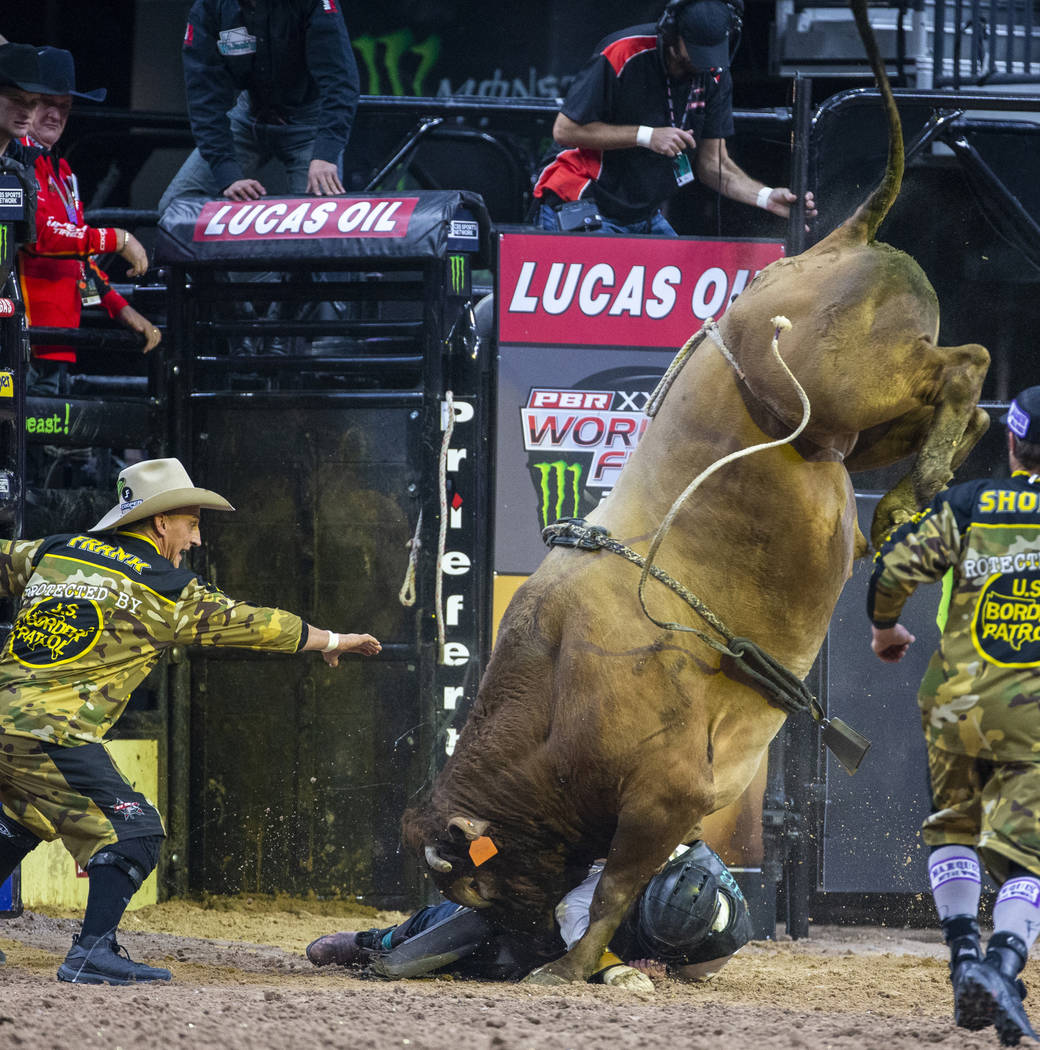 A rider is seen during the third day of the PBR World Finals at T-Mobile Arena on Wednesday, No ...