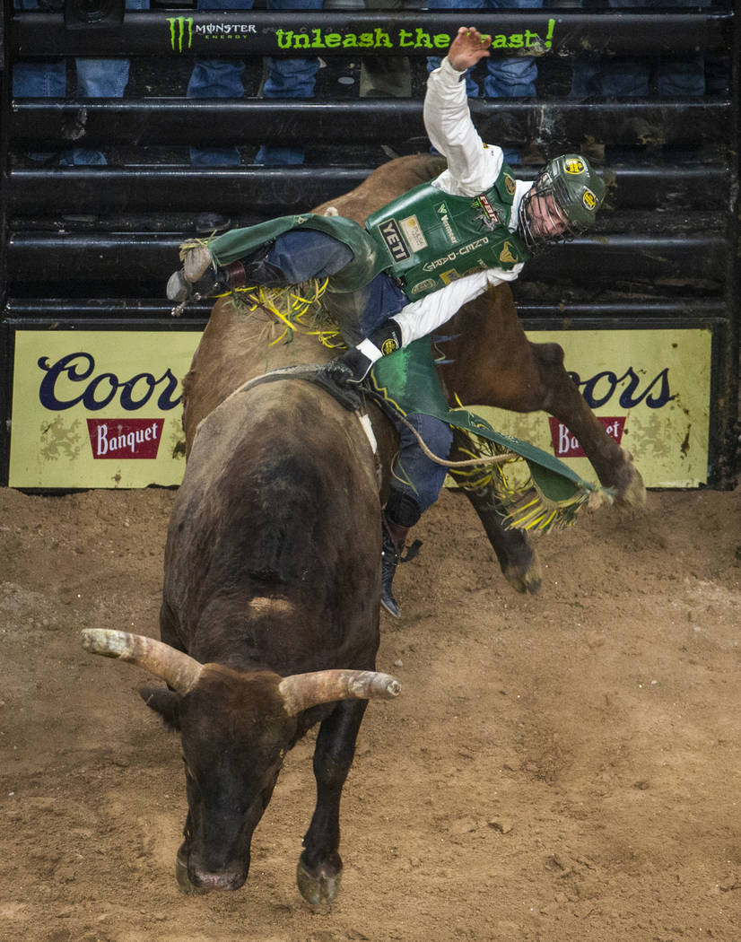 Jess Lockwood makes another winning ride atop of Biker Bob during the third day of the PBR Worl ...