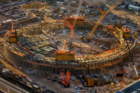 The construction site of the MSG Sphere at the Venetian on Wednesday, Oct. 16, 2019, in Las Veg ...