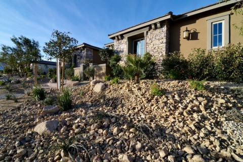 Terraced landscaping is shown in front of model homes in the Serenity Ridge development for Wil ...