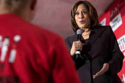 Sen. Kamala Harris speaks to an audience member who had a question during UNITE HERE's town hal ...