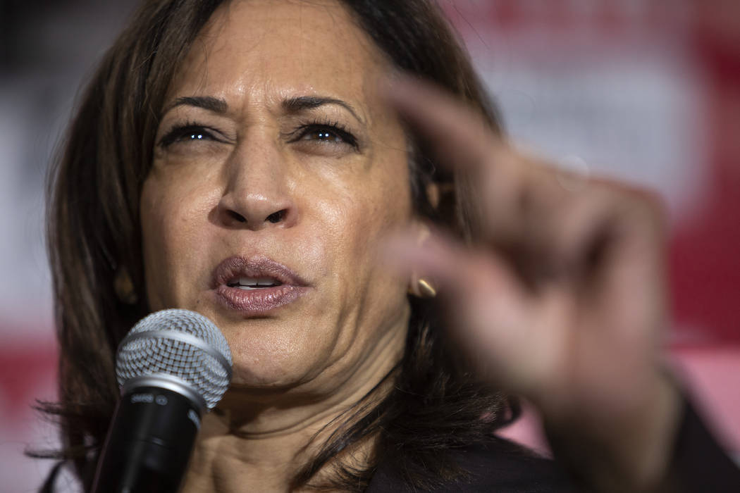 Presidential candidate Kamala Harris speaks about President Donald Trump during her speech to a ...