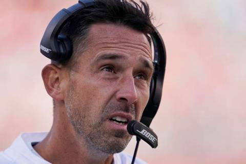 San Francisco 49ers head coach Kyle Shanahan stands on the sidelines during the second half of ...