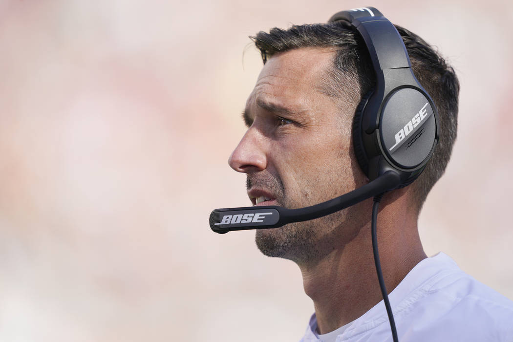 San Francisco 49ers head coach Kyle Shanahan watches during the second half of an NFL football ...