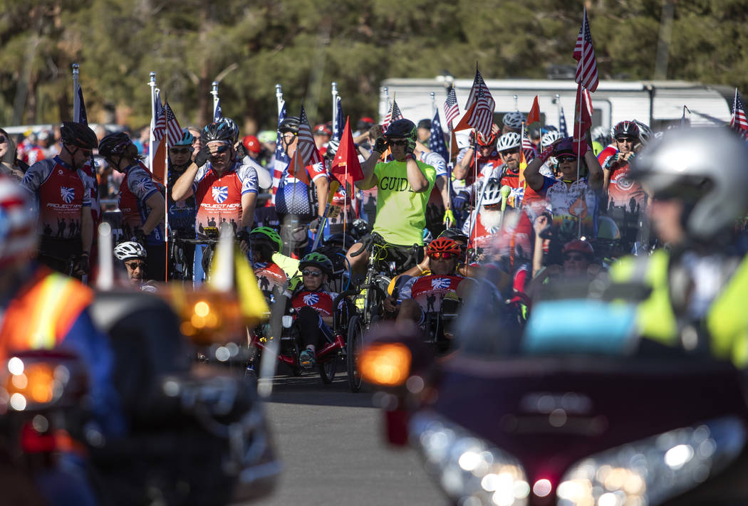 Participants in the Las Vegas Honor Ride await the start of the ride on Saturday, Nov. 9, 2019, ...