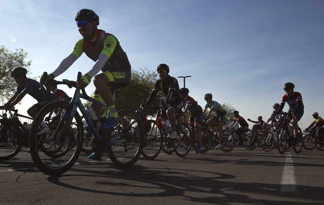 The Las Vegas Honor Ride takes off on their routes, which range from 19 miles to 64 miles, on S ...