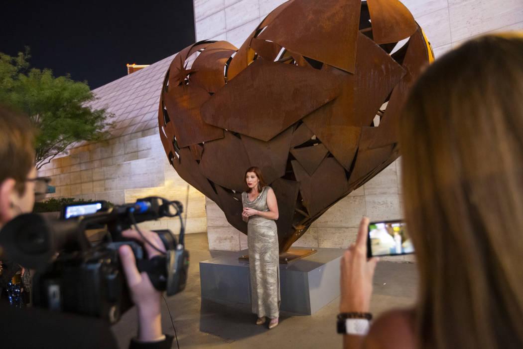 "Artist Katy Boynton speaks during a dedication ceremony for the ""Heartfullness Vegas"" ..."