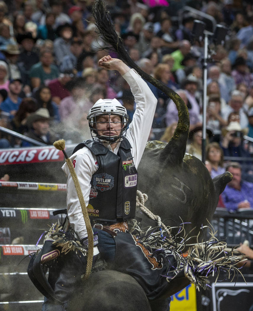 Mason Taylor sits tall on Nathan during the fourth day of the PBR World Finals at T-Mobile Aren ...