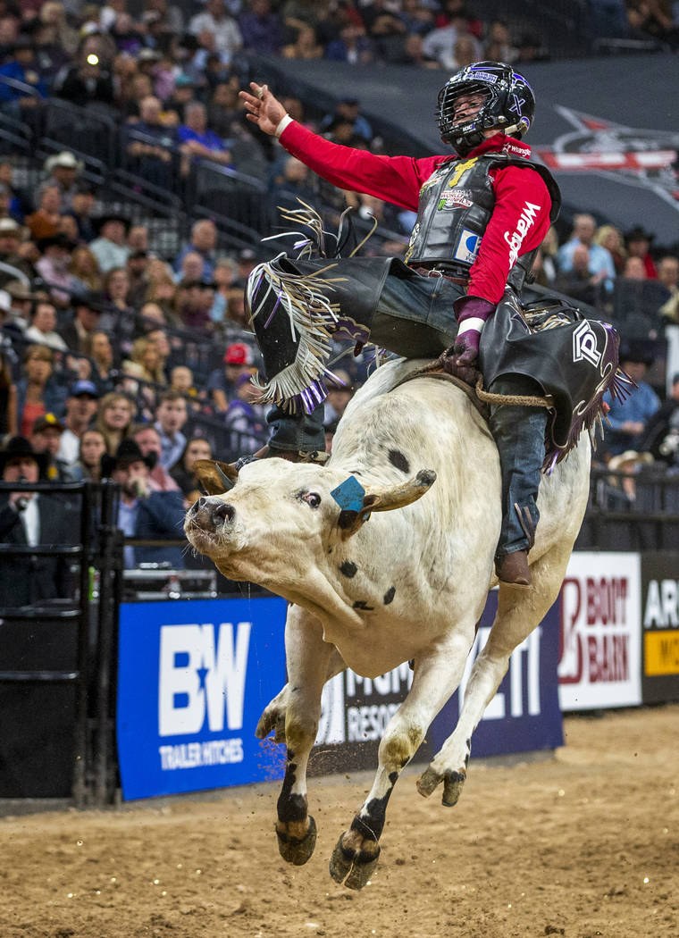 Daylon Swearingen catches some air atop of Too dirty during the fourth day of the PBR World Fin ...