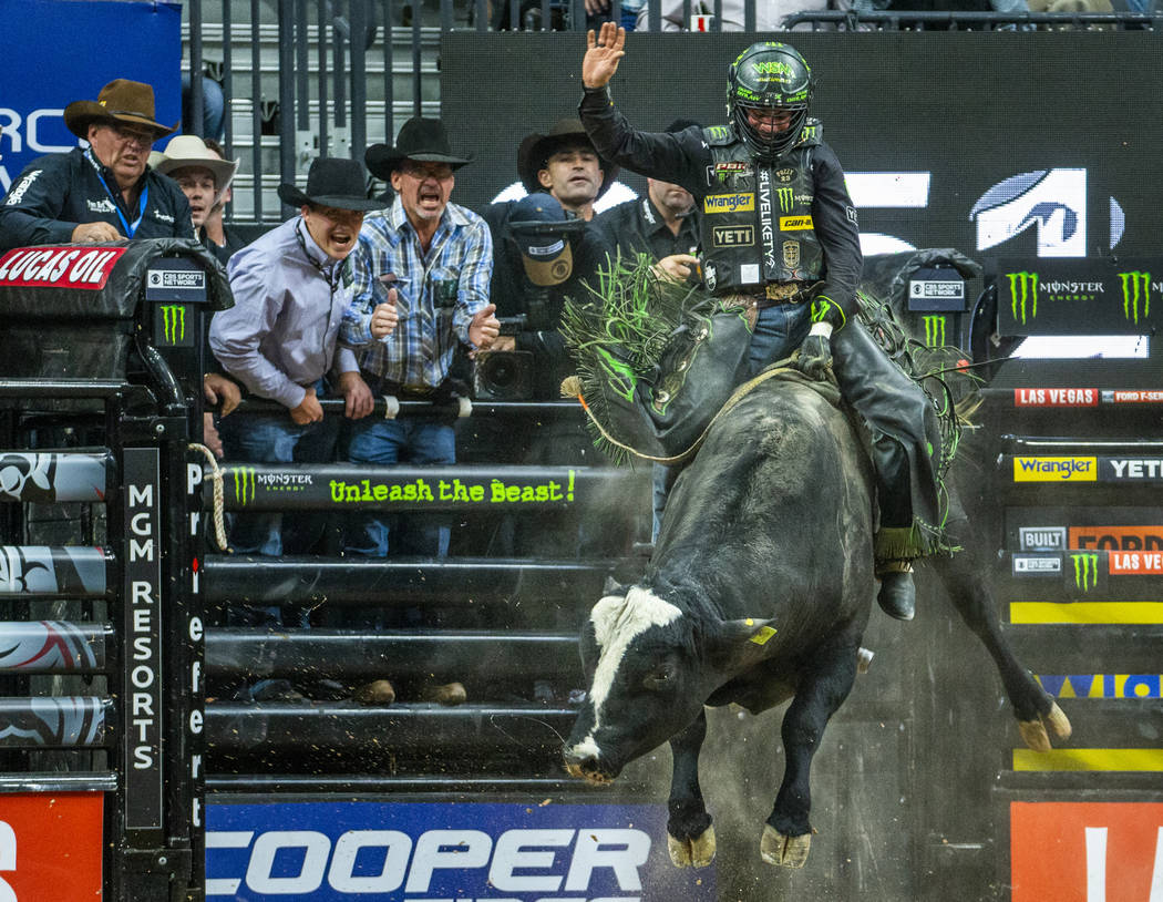 Chase Outlaw chases the leaders atop of Catch My Drift during the fourth day of the PBR World F ...