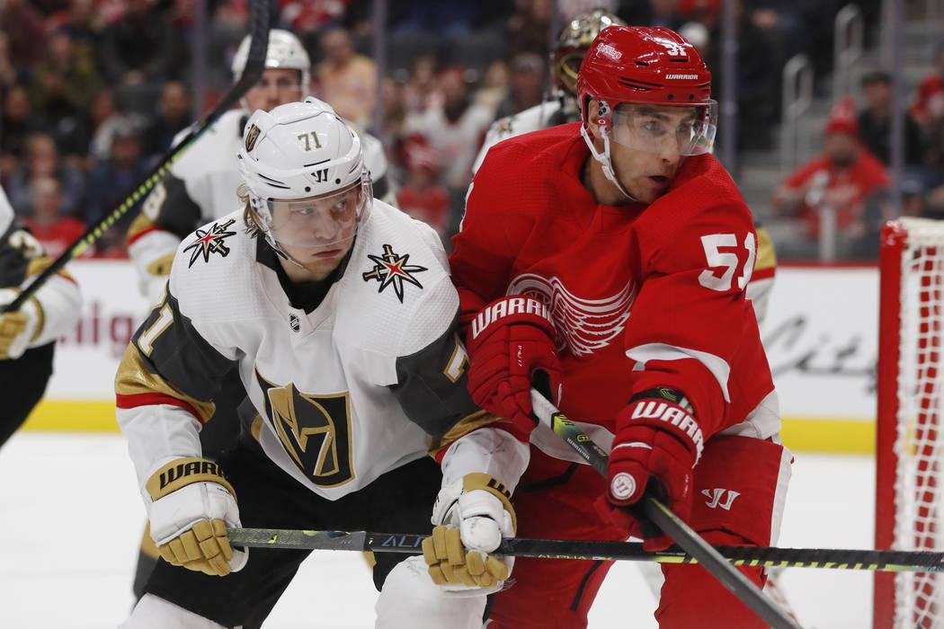 Vegas Golden Knights center William Karlsson (71) and Detroit Red Wings center Valtteri Filppul ...