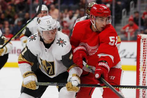 Vegas Golden Knights center William Karlsson (71) and Detroit Red Wings center Valtteri Filppul ...