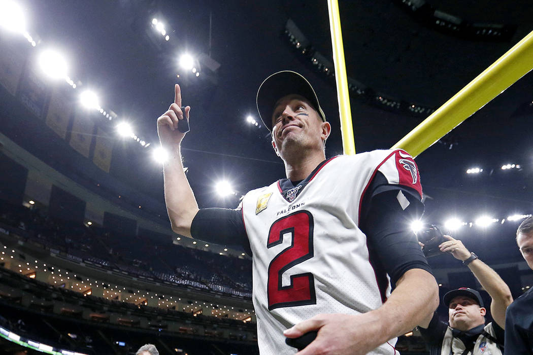 Atlanta Falcons quarterback Matt Ryan (2) reacts as he leaves the field after an NFL football g ...
