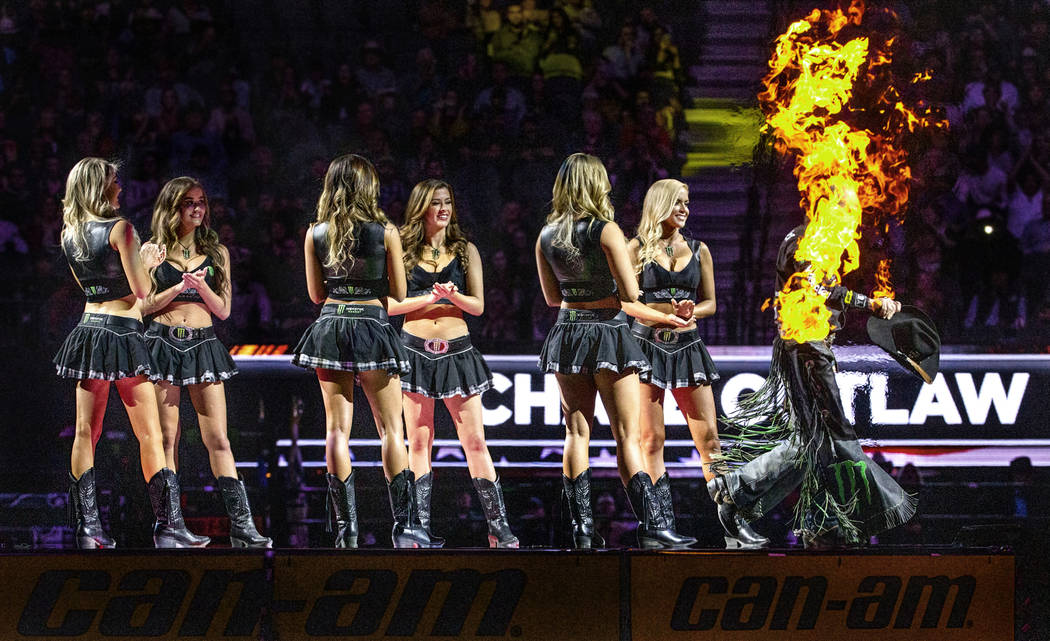 Chase Outlaw appears to be in flames as he's introduced to the fans during the third day of the ...