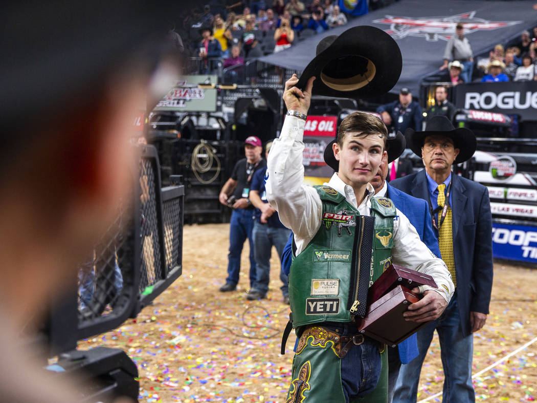 Jess Lockwood thanks the fans after being awarded the 2019 PBR World Finals Champion at T-Mobil ...