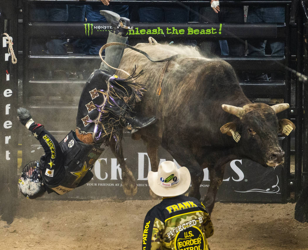 Matt Triplett is tossed off of Bad Brad during the last day of the PBR World Finals at T-Mobile ...