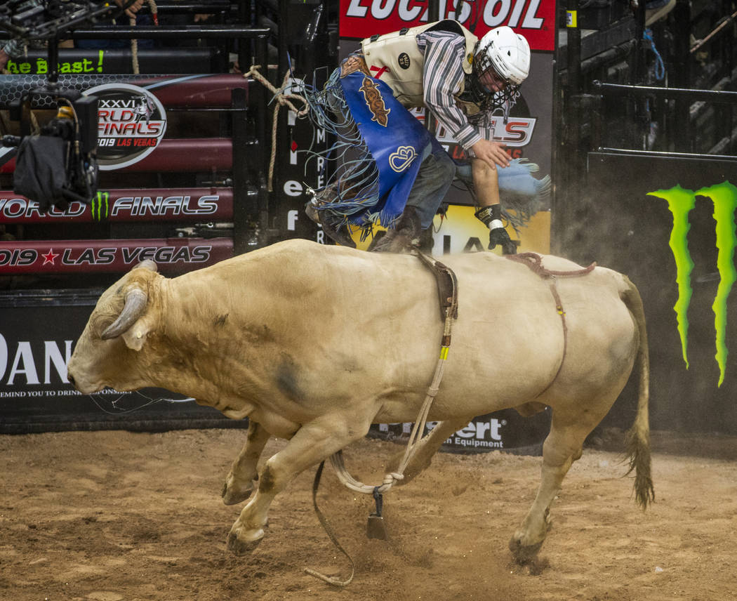 Brady Sims ends up backwards atop of Identity Crisis during the last day of the PBR World Final ...